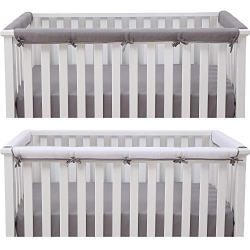 Belsden Baby Safe 3 Pack Crib Rail Cover Set for 1 Long and 2 Side Rails, Reversible Breathable Padded Crib Teething Guard Protector for Boys Girls, Measure up to 8 inches Around, Gray and White Color