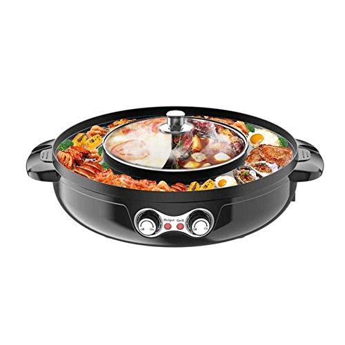 Parrilla eléctrica Hot Pot Grill 2200 W, diseño dividido, parrilla eléctrica sin humo y olla doble Hot Pot 2 en 1, control de temperatura independiente para amigos de la familia (negro)