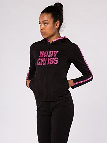 BODYCROSS Veste à Capuche Zippée Femme Noir/Fushia Training, Lifestyle - Polyester/Coton/Spandex - Coupe Près du Corps, Liseret en Satin, Logo Brodé