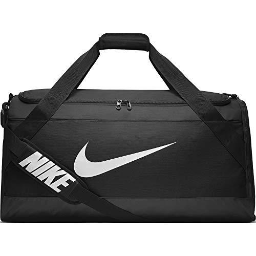 NIKE Brasilia Training Duffel Bag, Black/Black/White, Large