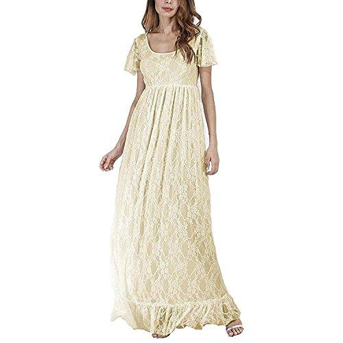 FYMNSI Vestido de maternidad largo, vestido de encaje para mujer, para embarazadas,...