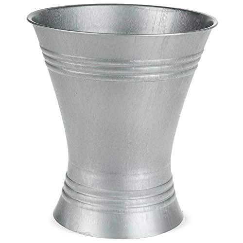 matches21 Vase Floristenvase Bodenvase Blumenvase Zinkoptik Kunststoff Metalliclook Struktur 1 STK Ø 19x21 cm - 4 Größen