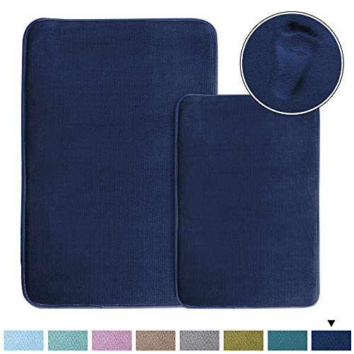 Cozy Velvety Memory Foam Bath Rugs/Carpets (2 Pack) Soft Flannel Bath Mat Set Quick Dry Non-Slip Rugs Set for Bathroom/Powder Room, Machine-Washable (20' x 32' Plus 17' x 24'- Navy)