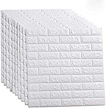 10 Pcs 3D Wallpaper Brick Waterproof Self Adhesive White Wall Panels PE Foam for Living Room TV Wall and Home Décor (Bric...