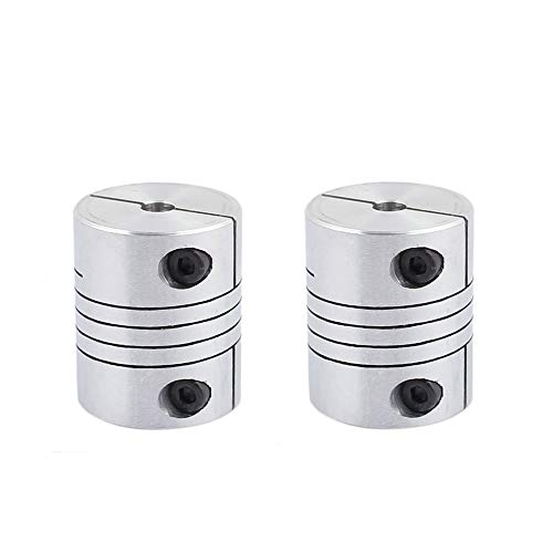 Xnrtop 5mm to 10mm Shaft Coupling 30mm Length 25mm Diameter Stepper Motor Coupler Aluminum Alloy Joint Connector for 3D Printer CNC Machine DIY Encoder 2pcs
