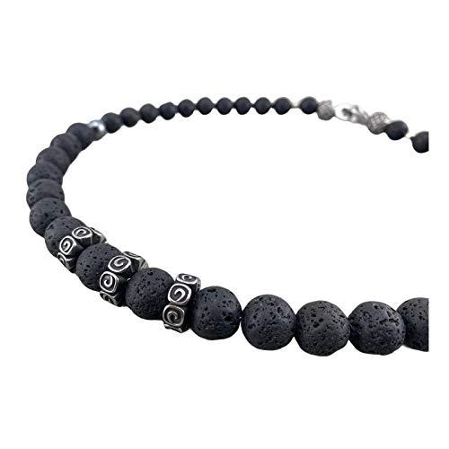 coole Halskette Statement Kette Perlenkette aus Lava Perlen Lavasteine schwarz black für Herren oder Damen Biker Rocker Schmuck K132