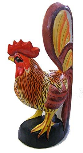 Sculpté à la main, en bois peint à la main cockeril/Coq/Poule Statue/Sculpture/Décoration – Commerce équitable