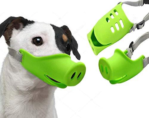 Anti-Biss-Maske für Hunde, verhindert Bellen – Anti-Fütterung, atmungsaktives Silikon, verstellbare Größe 17,8-55,9 cm, Bell-Halsbänder, Anti-Bell-Training, Hunde und stoppt Bellen, 2 Packungen