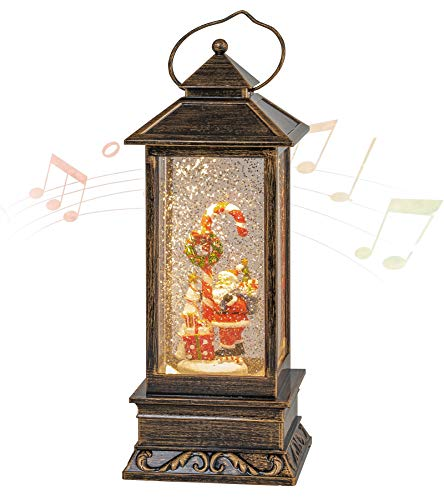 Christmas Musical Snow Globe Lantern, Spinning Water Glittering with 6 Hours Timer, USB Powered & Battery Operated for Christmas Decorations and Gifts (Santa Claus and Candy Cane)