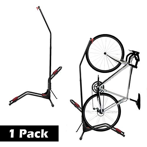 """Houseables Bike Rack Wall Bikes Stand Floor 479""""x25"""" 1 Pk Black Red Fits 24"""" W Stainless Steel Mount Vertical Free Standing Storage Gravity Stands Upright for Indoor Mountain Bicycle"""