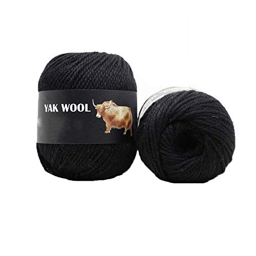 Clisil 1Kilogram Thick Yak Wool Yarn Warm Cashmere Thread Knitting Worsted Blended Crochet Yarn Black DIY Winter Sweater Scarf Gloves Yarn