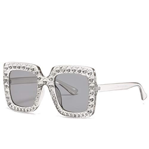 LALB Gafas De Sol, Mujeres Europeas Y Americanas con Gafas De Sol De Marco De Diamantes, Gafas Cuadradas Grandes, Gafas De Sol De Diamante Completo,F