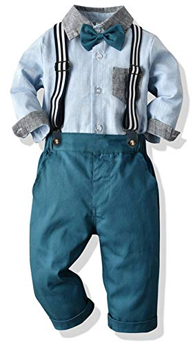 Toddler Dress Suit Baby Boys Clothes Sets Bowtie Shirts + Suspenders Pants 3pcs Gentleman Outfits Suits 6Month - 6Years (Blue002, 12-18M)