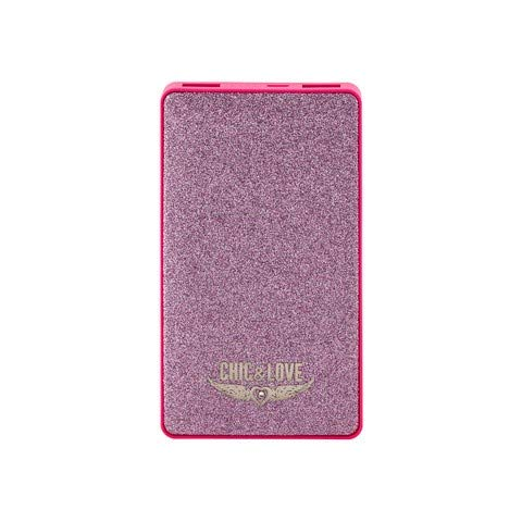 Batería Externa para moviles, Powerbank 6.000 mAh,Pink Glitter Chic and Love