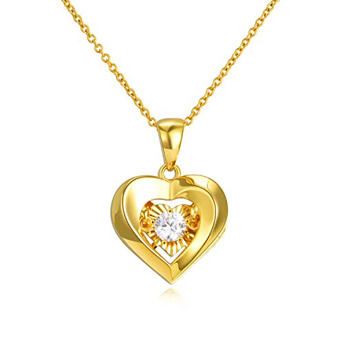 Solid 18k Yellow Gold Heart Pendant Necklaces for Women, Anniversary Jewelry for...