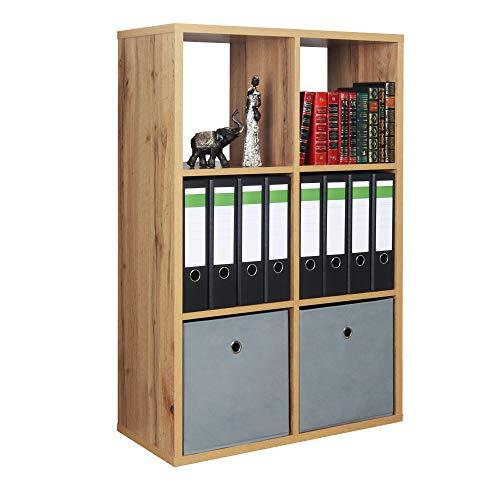 RICOO Standregal (WM079-EW) 107 x 73 x 33 cm Holzregal Eiche Wotan Braun Bücherregal Organizer Bücherschrank Raumteiler Pflanzenregal Wohnzimmer
