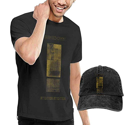 SOTTK Camicie e T-Shirt Sportive,Top e Bluse, Men\'s Shinedown Attention Attention T-Shirt And Washed Denim Baseball Dad cap Black