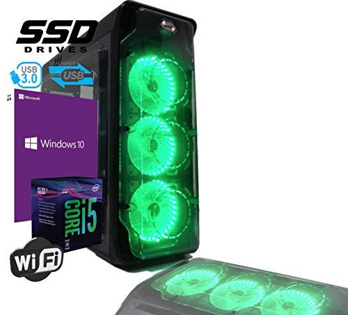 PC DESKTOP PROFESSIONAL GAMING INTEL i5-8400 Hexa-Core 8th Gen. 4,00ghz RAM Ddr4 8gb SSD 480gb WIFI USB3.0 licenza Windows 10 professional Completo e Veloce CASE ATX 2.0 3 VENTOLE LED VERDI