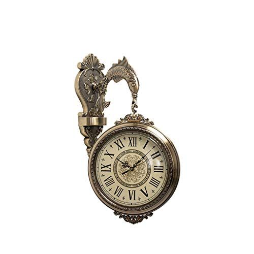 SHUTING2020 Reloj de Mesa Reloj de Pared de Doble Cara Sala de Estar Reloj de Pared Moda Hogar New Chinese Style European Wall Reloj Reloj de decoración de interiors (Color : C)