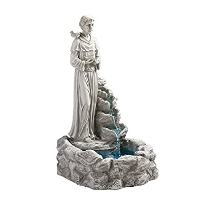 Design Toscano KY30367 Water Fountain - Nature's Blessed Prayer St Francis Statue Garden Decor Fountain - Outdoor Water Feature,antique stone
