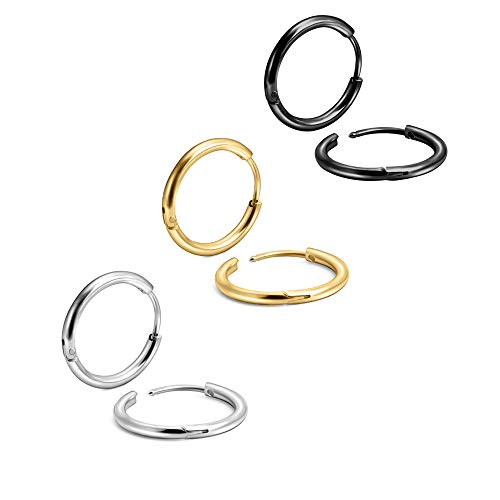 Gold Silver Black Plating Endless Cartilage Hoops 7MM Tiny Sleeper Thin Hoop Earrings for Boy&Girl 20G Nose Rings Helix Septum Daith Lobe Lip Tragus Nipple Snug Second Third Hole Body Piercing Jewelry