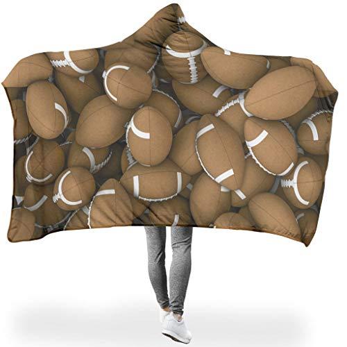 O2ECH-8 Draagbare deken, groot met capuchon, deken, kleine voetballs, patroon bedrukt, knuffeldeken met patroon, sherpa, warm, gezellig deken met hoed, grappig 3D past, tieners.