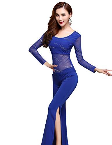 Bestgift Ensemble de Danse du Ventre Fitness Femme L 2-Piece(Top+Pants) Manches Longues Bleu Royal