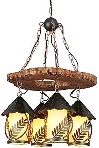 Hadunoi Lámparas Colgantes de Comedor Vintage, lámpara Colgante de decoración de Hojas de Metal de Madera Maciza, lámpara de araña de Tela Elegante de 4 Luces, para Sala de Estar, Dormitorio,...