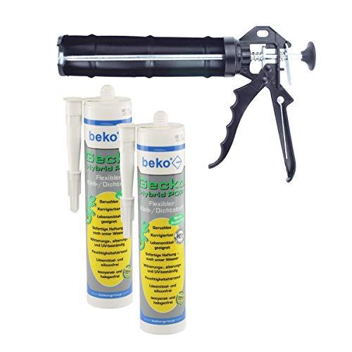 SET 2x Beko Gecko Hybrid Pop, flexibler 1-Komponenten Kleb-/Dichtstoff - weiß - je 310ml + Kartuschenpresse