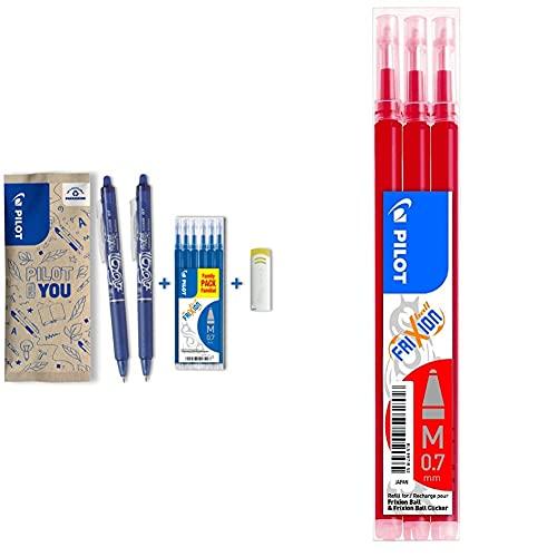 Pilot spain frixion clicker 1 set de 2 frixion clicker + 6 recargas + 1 goma, color azul + Set de 3 Recambios para Frixion Ball y Clicker, punto medio Rojo
