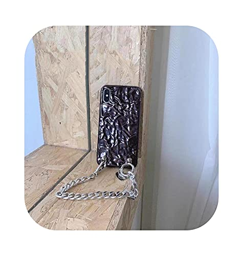3D lujo plegada lámina de lata amor corazón cadena pulsera teléfono caso para iPhone 11 12Pro X XR XS Max 7 8 Plus cubierta suave Funda-2-para iPhone 7 Plus