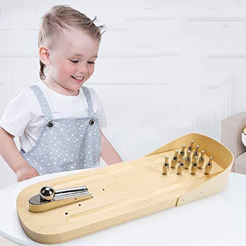 QJJML Bowling-Spielset, Indoor Holz Metall Finger Auswurf Spiel Klassische Desktop Eltern-Kind Interaktive Lernspielzeug Kinder Und Erwachsene Brettspiele
