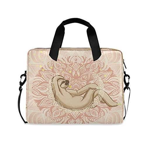 HaJie - Bolsa para ordenador portátil de 15,6 cm, diseño de mandala perezoso con diseño floral con asa de animales, para mujeres, hombres, niñas y mujeres