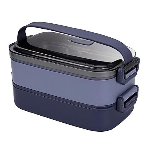 Caja de almuerzo de acero inoxidable 2 niveles de diseño a prueba de fugas Large Bento Almacenamiento de alimentos Contenedor azul, Caja de almuerzo para cocina
