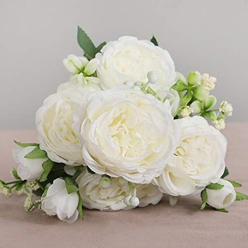 Hermosa Rosa peonía Flores de Seda Artificiales Ramo pequeñoFiesta en casa Primavera decoración de la BodaFlor Falsa - 15