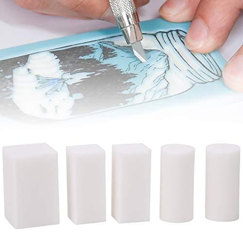 Safe White Easy Carve 5PCS Gummischnitzblöcke DIY Stempel für Scrapbook Postkarte Einladungskarte DIY Projekt