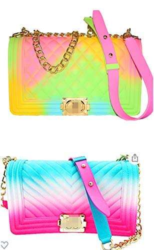 JELLY PURSE COMBO 2PURSE.Color Handbags Ladies Shoulder Bag PVC Fashion Handbags Matte Rhombic Jelly Bag (GREEN,PINK,YELLOW) AND (PINK,BLUE,WHITE)