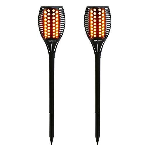 TEQStone luces solares para exteriores, luces de antorcha LED para jardín solar, efecto de llama parpadeante realista, resistente al agua IP65 (paquete de 2)