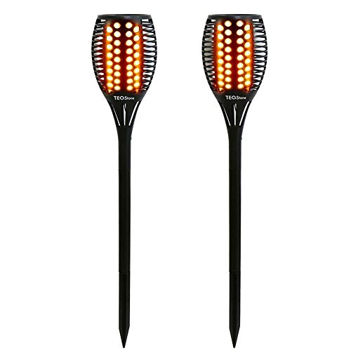 TEQStone Solarleuchte Garten, Solar Fackel Solarlampen für Außen Gartenfackeln Solar LED Solarlampe, Realistischer Flammeneffekt, IP65 Wasserdicht (2 Stück)