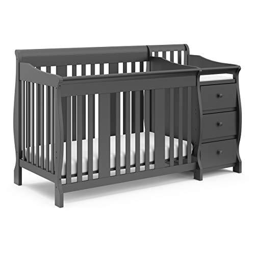 STORKCRAFT Portofino 4 In 1 Fixed Side Convertible Crib Changer, Gray