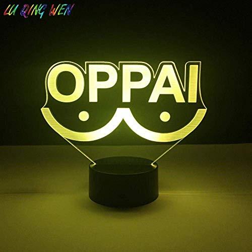 Lámpara de ilusión 3D Luz de noche LED Novedad Oppai Japonés personalizado Adulto Cambio de color frío Divertido Mejor cumpleaños Regalos de vacaciones para niños