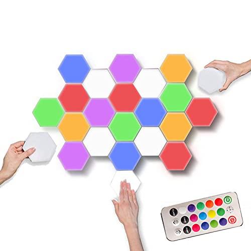 HAOXUAN Lámpara de Pared LED Hexagonal, Kit de iluminación de Bricolaje, lámpara Modular Sensible al Tacto de la lámpara cuántica, lámpara de Empalme RGB geométrica para el hogar Inteligente,1pack