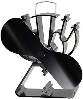 2cuchillas calor ventilador para la combustión de madera respetuoso con el medio ambiente que funciona con/LOG quemador chimenea de aire caliente con 140cfm, negro