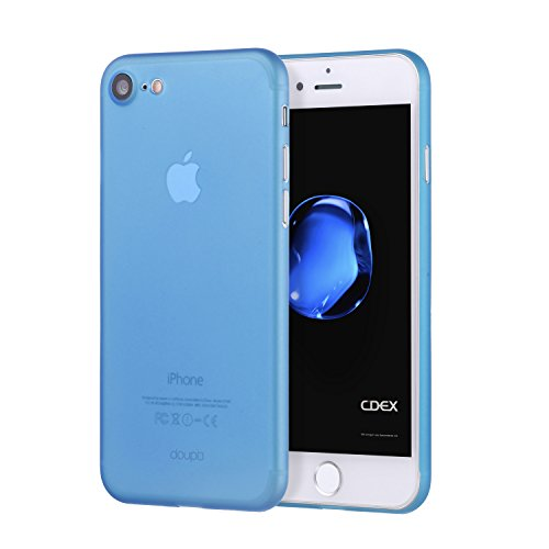 doupi UltraSlim Custodia per iPhone SE (2020)   iPhone 8 7 (4,7 Pollici), Satinato fine Piuma Facile Mat Semi Trasparente Cover, Blue