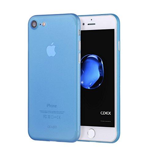 doupi UltraSlim Custodia per iPhone SE (2020) / iPhone 8/7 (4,7 Pollici), Satinato fine Piuma Facile Mat Semi Trasparente Cover, Blue