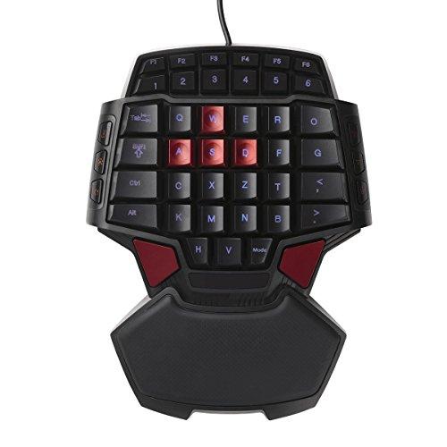 Dopobo Mini Game Pad Gameboard T9 Gaming Tastaturen Spielbrett FPS Gamer Spieltastatur Backlight Spiele mit einer Hand Für Für BF Battlefield / COD Call of Duty / HALO / CS CSOL / AVA / WOW und Crysisetc / Rautenförmigen ergonomisches Design