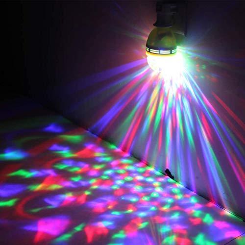 Bola LED giratoria E27, luz de noche Led, luz de dormitorio LED RGB 3x1W, rotación automática y luz estroboscópica activada por voz