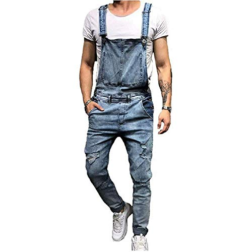 Fashion Mens Overalls Skinny, Denim Vintage Ripped Trousers Slim Fit Jumpsuits Dungarees Jeans Breathable Distressed, Blue, US XL = Tag 3XL