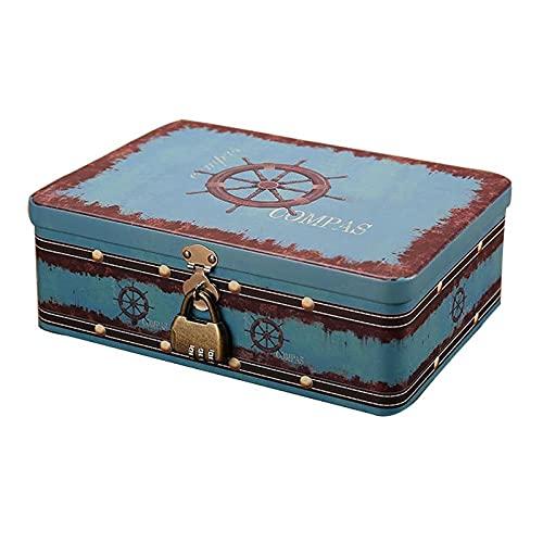 Lpf3kkk Schmuckkasten Große Passwort-Sperre Tin Box Schmuck Kartenbf Foto Münze Geheimnis kleines Souvenir Aufbewahrungsbox Veranstalter Druck Metallgehäuse Geschenk-c Schmuckbox (Color : A)