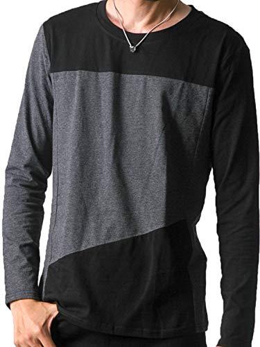 BUZZ WEAR [バズ ウェア] メンズ Tシャツ カットソー ロンT 長袖 半袖 アシンメトリー 切り替え バイカラー ボーダー ドルマン [タイプA/長袖] ダークグレー M